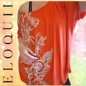 ELOQUII Orange Floral Tunic with Raglan Sleeves